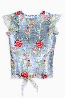 Next Stripe Floral Embroidered Top (3-16yrs)