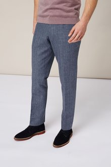 Next Melange Linen Blend Suit: Trousers - Slim Fit