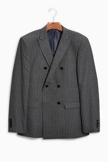 Next British Wool Striped Regular Fit Suit: Double Breasted Jacket
