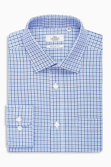 Next Blue Gingham Regular Fit Shirt With Pocket