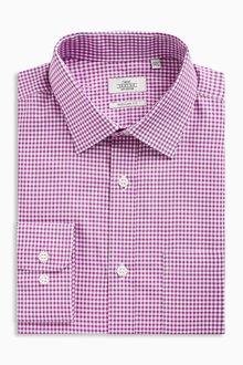 Next Pink Gingham Regular Fit Shirt With Pocket