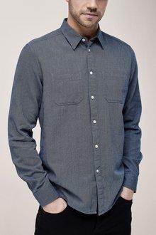 Next Indigo Long Sleeve Textured Shirt