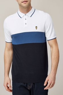 Next White/Blue Colourblock Polo