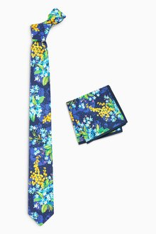 Next Blue Floral Tie And Pocket Square