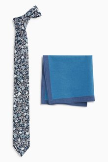 Next Teal Floral Tie And Pocket Square