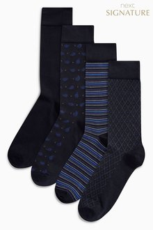 Next Bamboo Navy Mixed Pattern Socks Four Pack