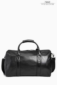 Next Black Signature Leather Holdall