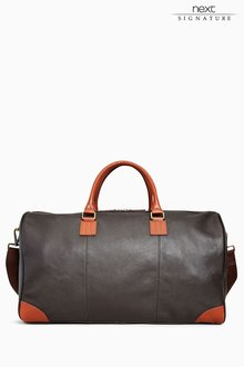 Next Brown Signature Leather Holdall