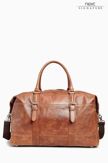 Next Tan Signature Leather Holdall