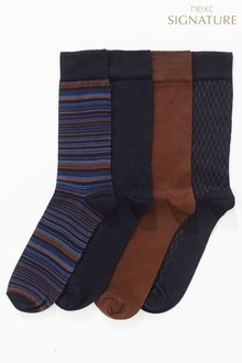 Next Bamboo Navy/Tan Mixed Pattern Socks Four Pack