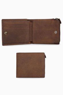 Next Leather Zip Pocket Bifold Wallet