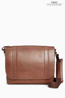 Next Signature Leather Messenger Bag
