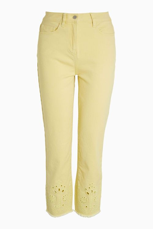 Next Embroidered Cut Out Cropped Jeans