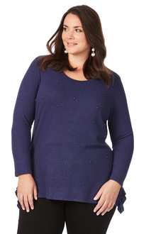 Plus Size - Beme 3/4 Sleeve Pearl Knit Jumper - 205416