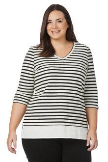 Plus Size - Beme 3/4 Sleeve Stripe Two Fer