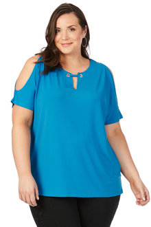 Plus Size - Beme Short Sleeve Eyelet Top