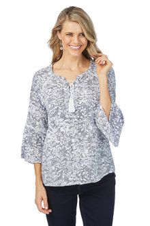 Rockmans 3/4 Sleeve Etched Gypsy Top