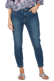 Rockmans 7/8 Notch Stud Split Detail Slim Leg Jean