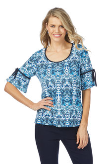 Rockmans Elbow Sleeve Floral Paisley Print Top