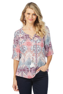 Rockmans Elbow Sleeve Gypsy Blouse