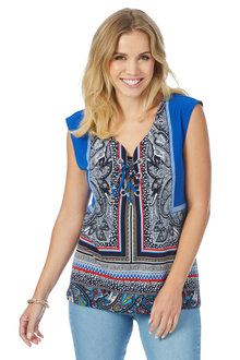 Rockmans Extended Sleeve Paisley Border Print Top