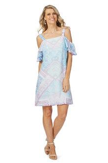Rockmans Shortsleeve Soft Cold Shoulder Dress