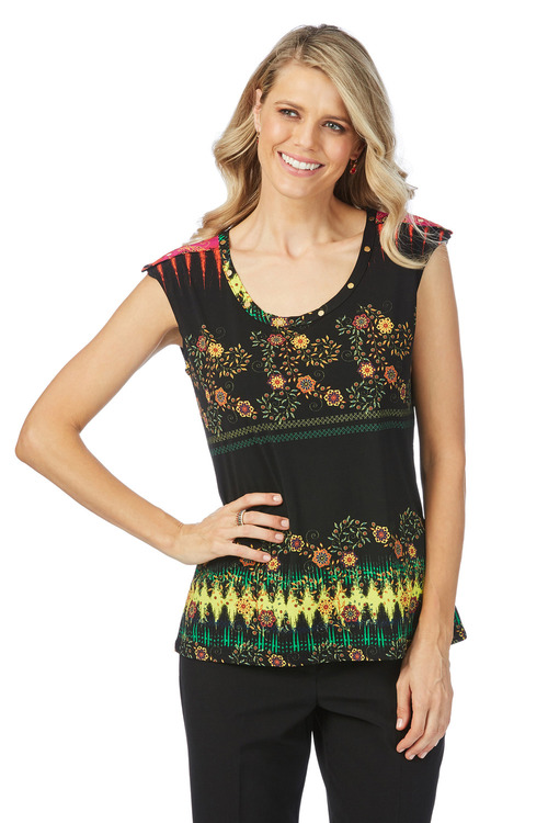 Rockmans Extended Sleeve Stud Neck Floral Top