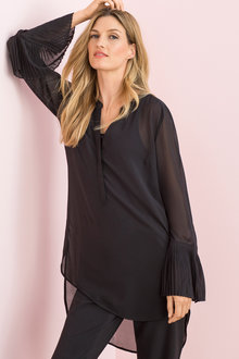 Grace Hill Longline Shirt with Pleat Cuff