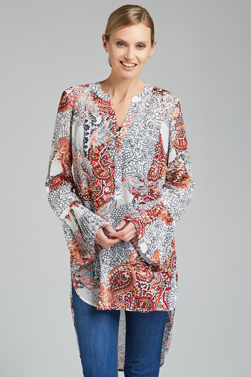 Grace Hill Longline Shirt with Pleat Cuff