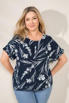 Plus Size - Sara Ruffle Sleeve Shell Top