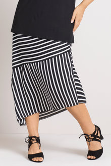 Plus Size - Sara Asymmetric Stripe Skirt