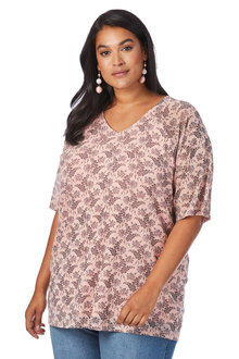 Plus Size - Beme 3/4 Sleeve Mesh Print Top