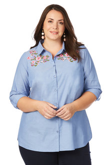 Plus Size - Beme 3/4 Sleeve Embroidered Shirt - 205775