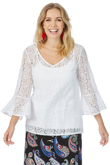 Rockmans 3/4 Flare Sleeve Lace Top