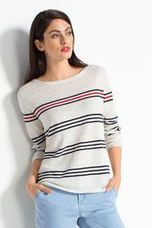 Capture Linen Blend Stripe Long Sleeve Sweater