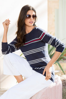 Capture Linen Blend Stripe Long Sleeve Sweater