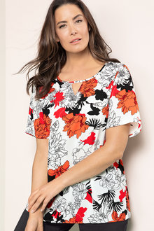 Plus Size - Sara Keyhole Shell Top