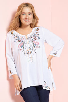 Plus Size - Sara Embroidered Button Neck Top