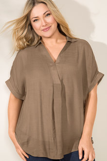 Plus Size - Sara Short Sleeve Placket Top