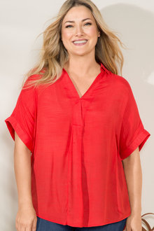 Plus Size - Sara Short Sleeve Placket Top - 205815