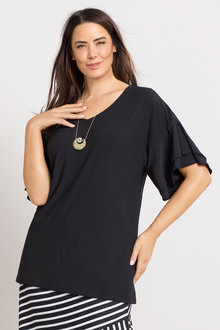Plus Size - Sara Textured Ruffle Sleeve Top