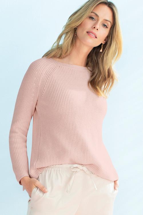 Capture Cross Back Print Trim Sweater