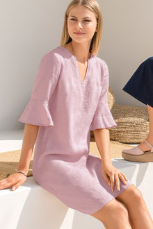 Emerge Notch Neck Linen Dress