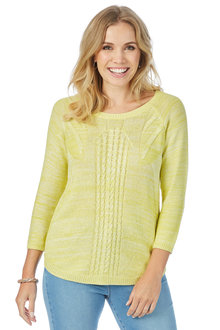 Rockmans 3/4 Sleeve Cable Stitch Space Dye Knit
