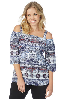 Rockmans 3/4 Sleeve Tile Print Flare Sleeve Top
