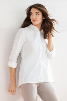 Capture Stretch Cotton Poplin Ruffle Trim Shirt