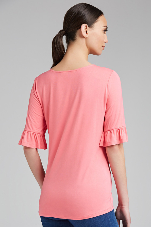 Capture Half Placket Ruffle Tee