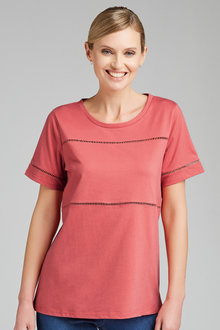 Capture Lace Trim Cotton Tee - 205868