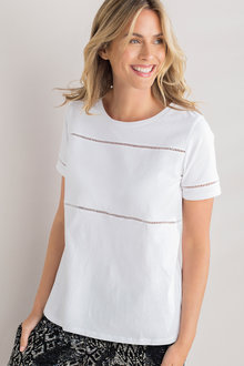 Capture Lace Trim Cotton Tee
