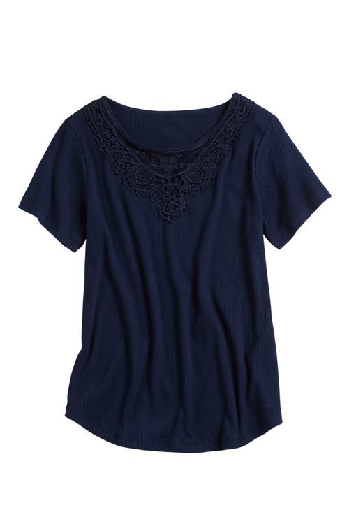 Capture Lace Trim Cotton Rib Tee